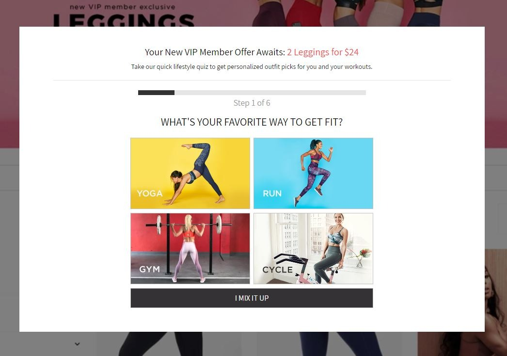 Fabletics curates outfits for each customer based on their style preferences and activities.