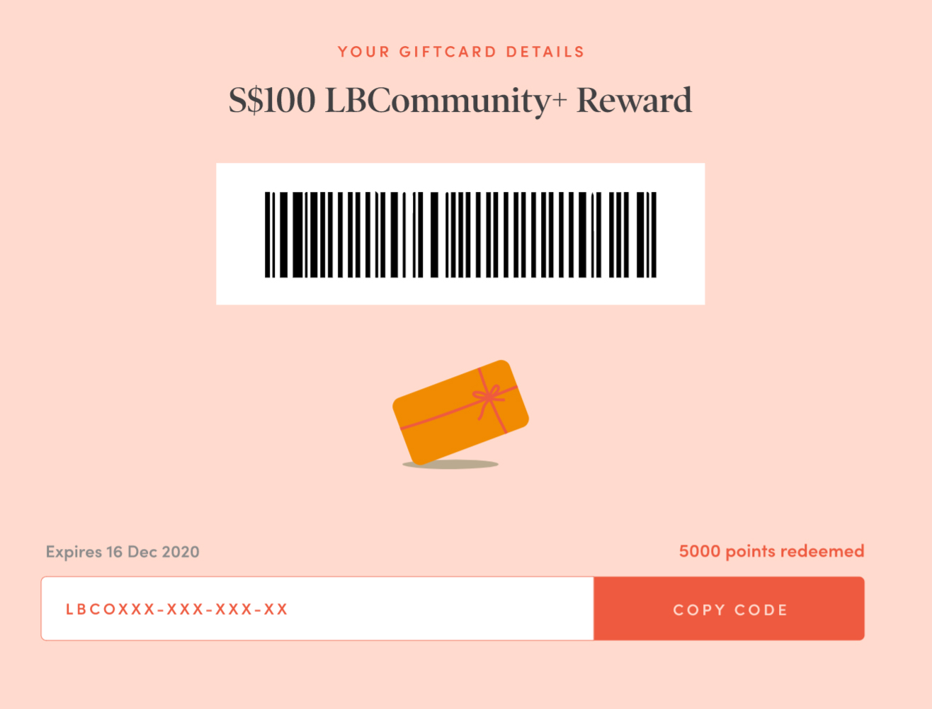 The gift card feature allows LBCommunity+ to reward members in a more convenient manner.