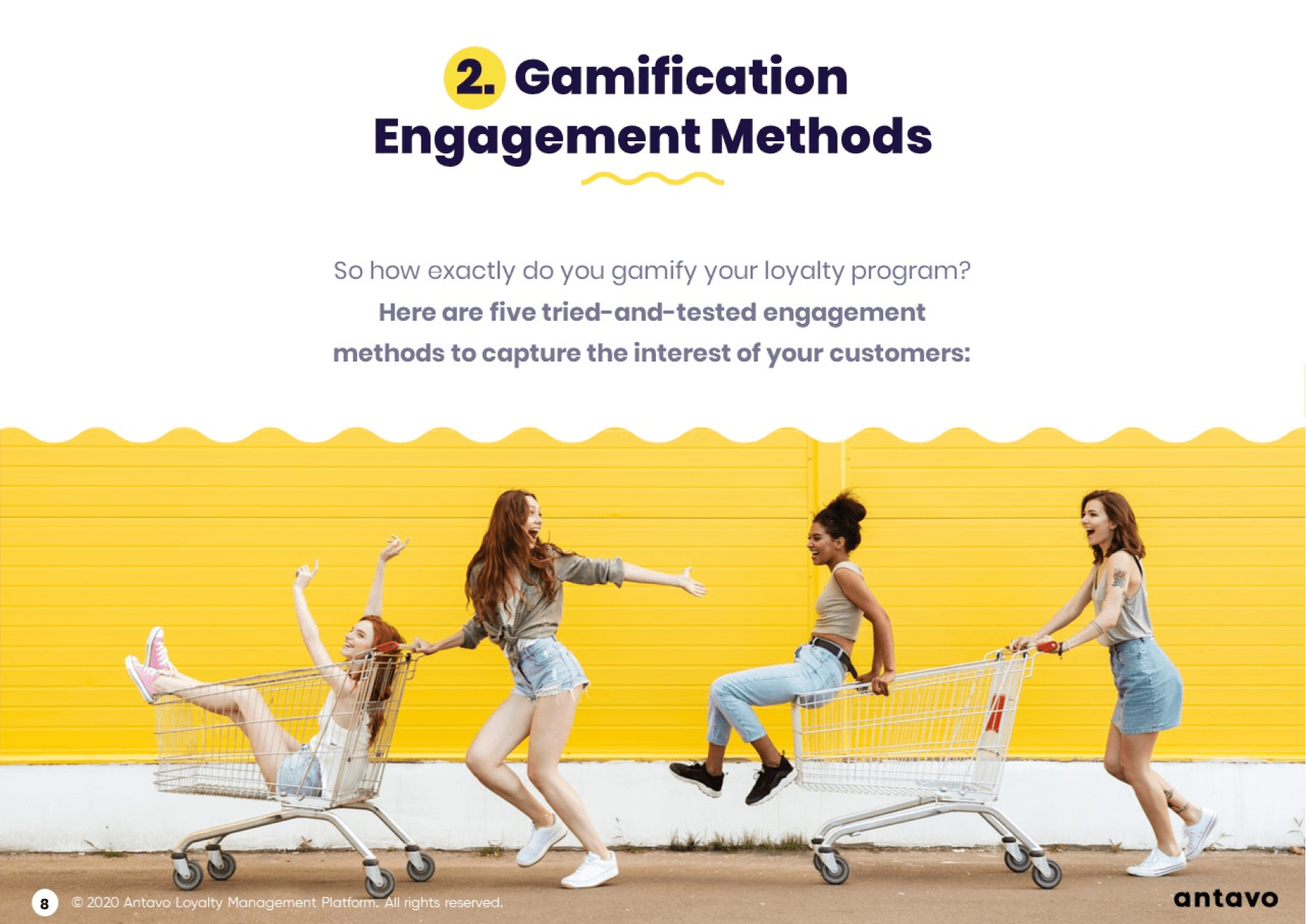 Antavo's Ebook: Best Practices for Gamification in Loyalty Programs - Gamification engagement methods.