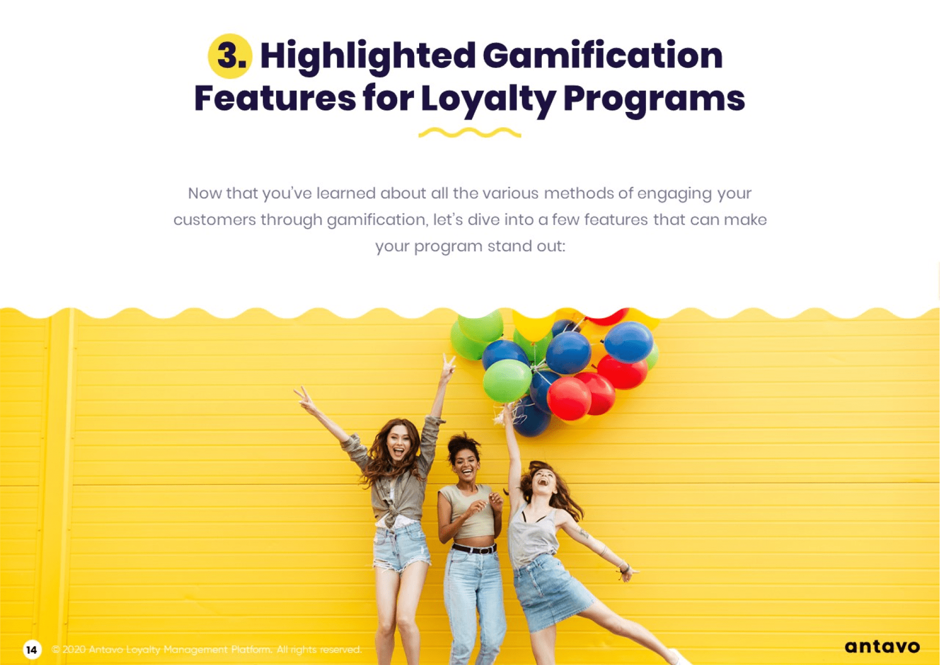 Antavo's Ebook: Best Practices for Gamification in Loyalty Programs - Highlighted gamification features for loyalty programs.
