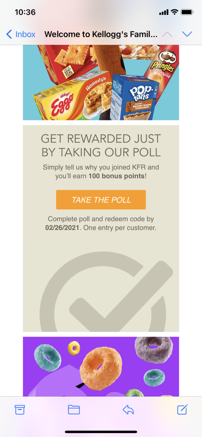 In the welcome email, the company follows up with an incentivized poll.