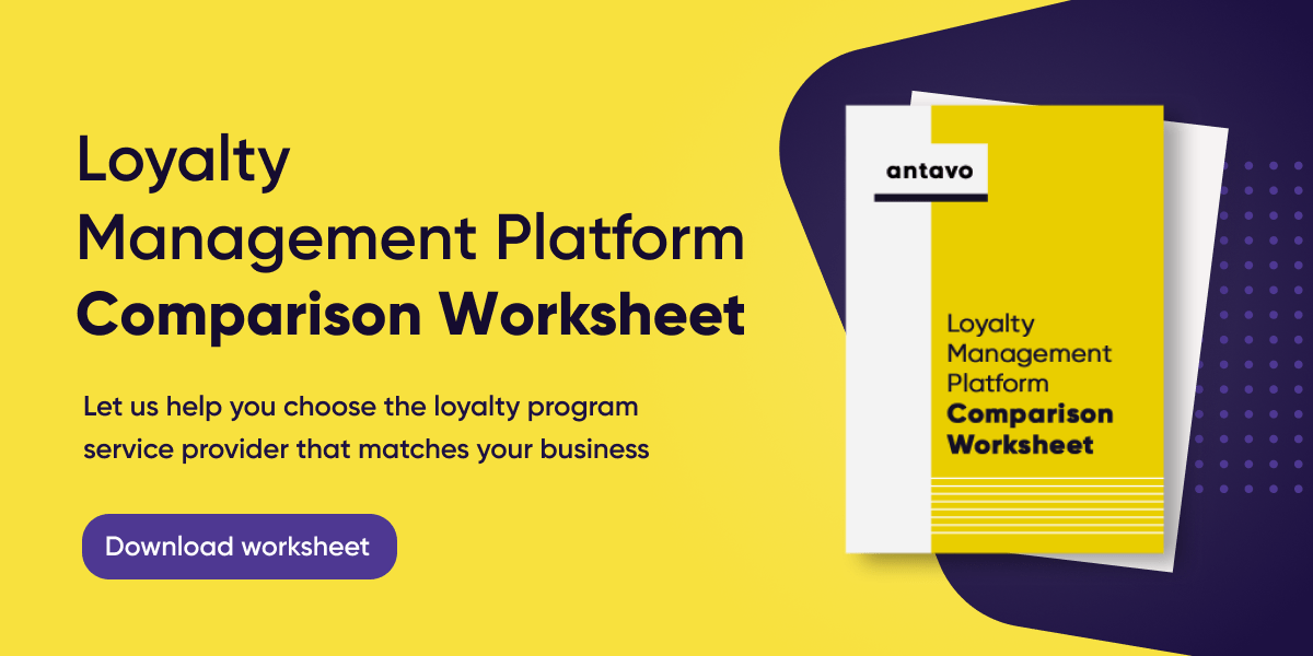 A banner encouraging readers to download Antavo's worksheet to compare loyalty program providers.