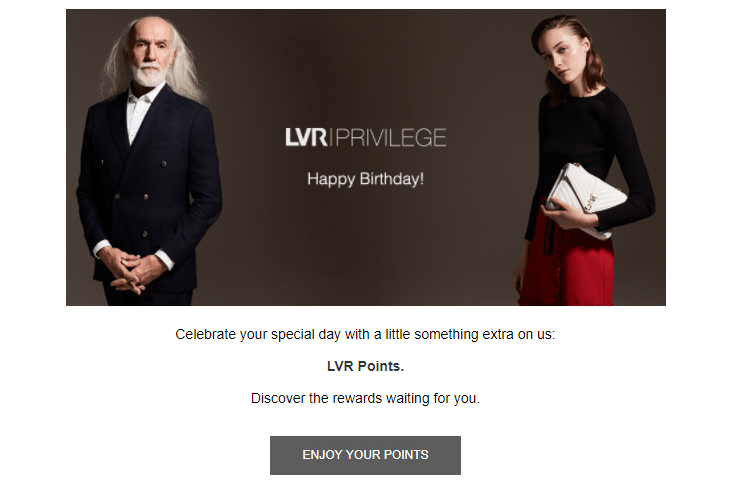 LuisaViaRoma's surprise birthday email campaign was so popular that it ranked third among the company's top-performing emails. Read more about the campaign's success in our case study.