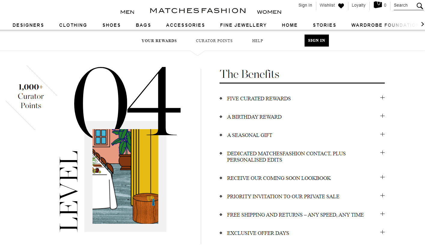 MATCHESFASHION exemplifies what it means to have experiential rewards: seasonal gifts, early access, and even a VIP-only lookbook.
