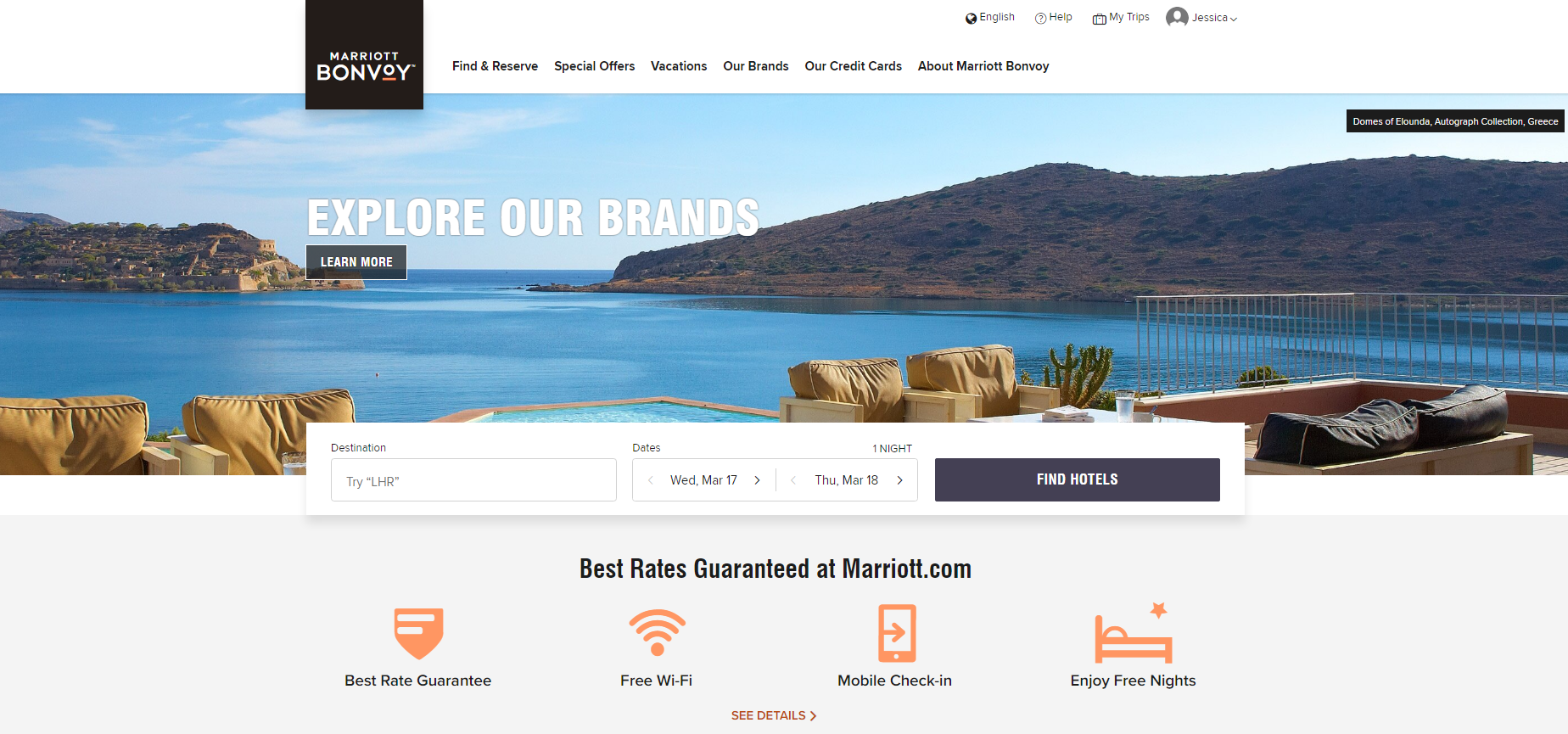 Marriott Bonvoy's membership page highlights their best rate guarantee, free Wi-Fi, mobile check-in, and free nights. Catch your customers' attention by putting the best benefits first.