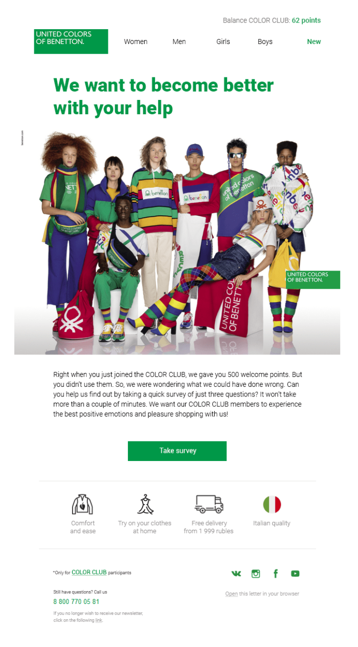 The email United Colors Of Benetton sent to its customers about unused points aims to rekindle interest among customers. (Source: Mindbox)