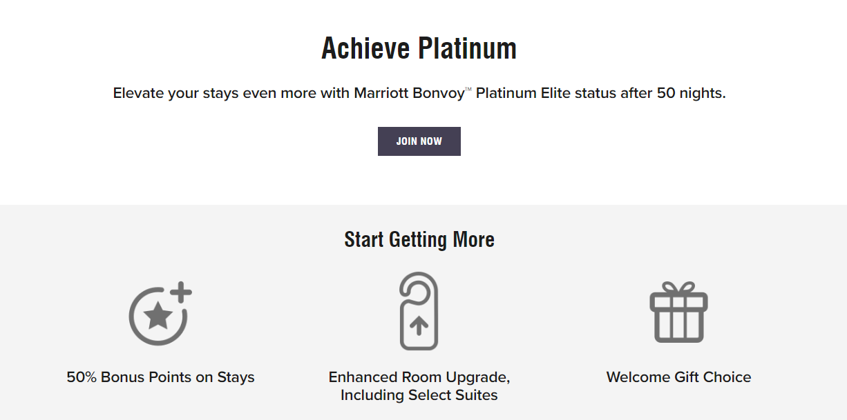 Platinum Elite members earn more bonus points, better room upgrades, and can choose the welcome gift they receive upon arrival.