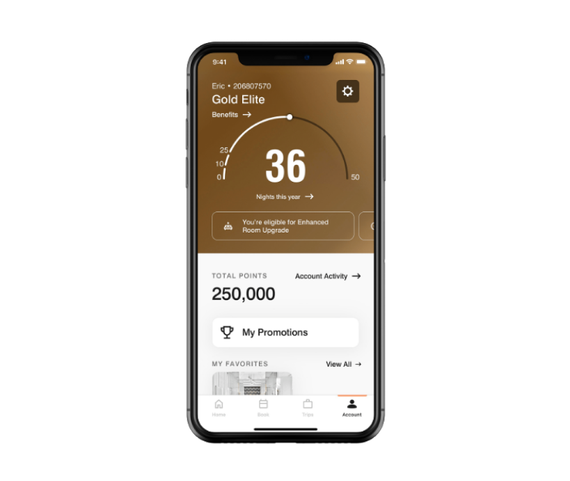 The Marriott Bonvoy app features a clean look and an easy-to-understand gauge and points counter to immediately see the number of stays and points you have at any given time.