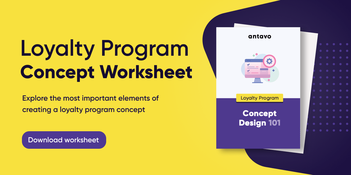 A banner recommending to download Antavo's 'Loyalty Program Concept Worksheet'