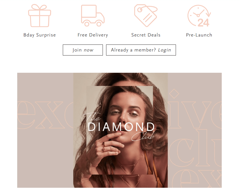 """The Diamond Club introduces itself as """"shopping with benefits"""", emphasizing exclusivity and using an on-brand loyalty program name. Plus their points are called """"carats"""". What's not to love?"""