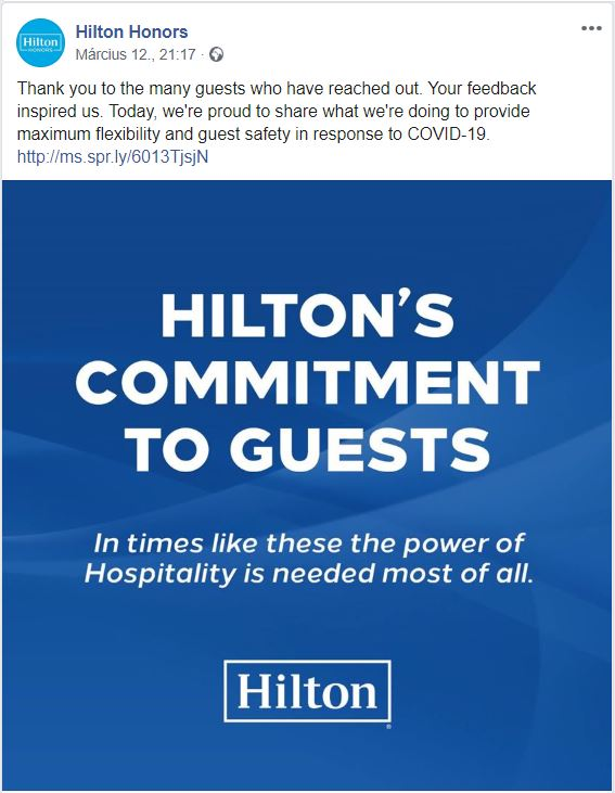 Hilton Honors telling members in a message about their changes in regards to Covid-19.