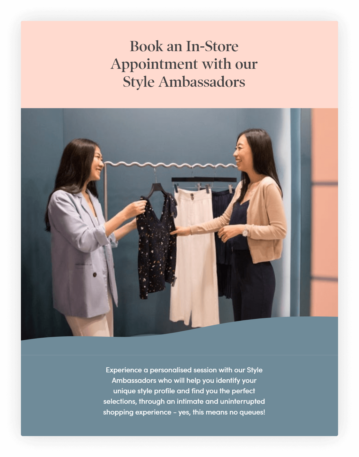 An image depicting how Love, Bonito's Book a Stylist feature looks like in action, a feature that is useful for a cross-country loyalty program.