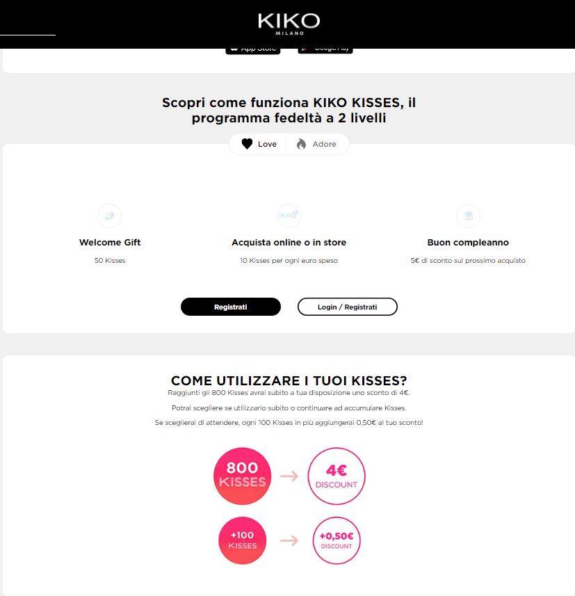 Italian loyalty program Kiko's main loyalty program rules