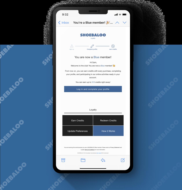A smartphone screen showcasing key features of the Shoebaloo Loyalty program.