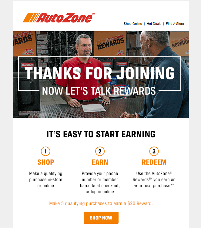 AutoZone's welcome email lets members know how they can earn credits right away.