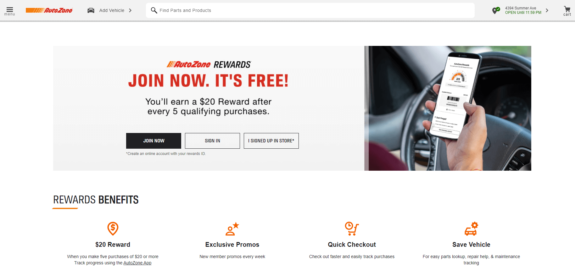 Members can sign up for the loyalty program immediately upon accessing the AutoZone's main page.